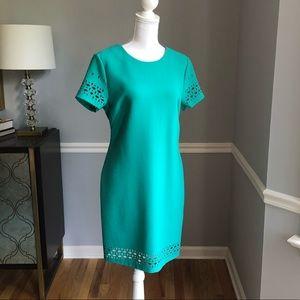 Banana Republic blue green laser cut dress